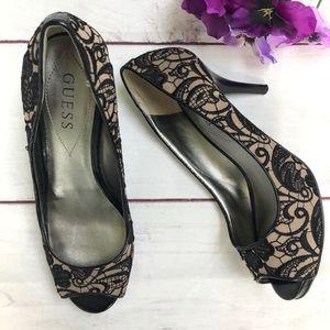 Guess black lace high heels WGWILLS2
